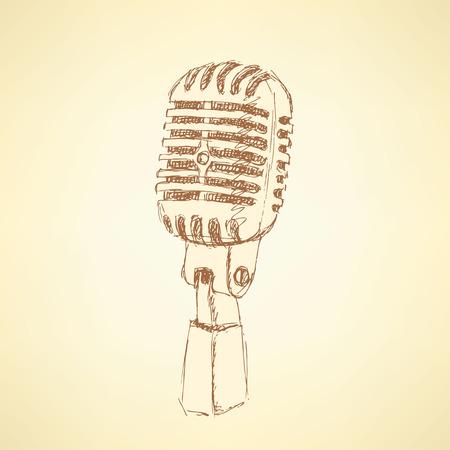 microfono antiguo: Bosquejo del micr�fono antigua de estilo vintage, vector