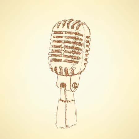 Sketch old microphone in vintage style, vector