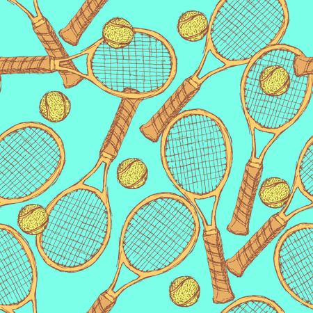 Sketch tennis equipment in vintage style, vector seamless pattern