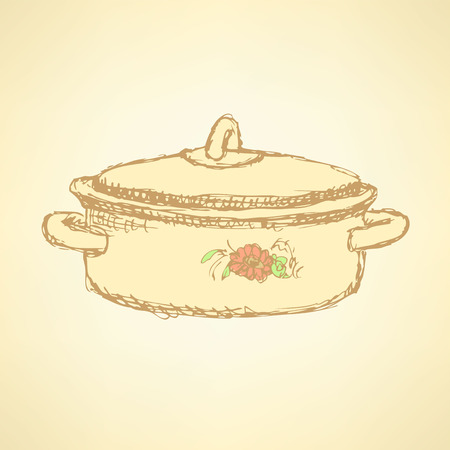 Sketch kitchen pan in vintage style, vector Vector