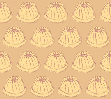 tasty: Sketch tasty muffin in vintage style, vector seamless pattern Illustration