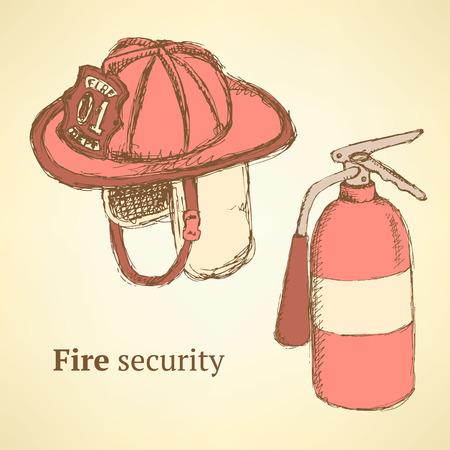 Sketch fire helmet and extinguisher in vintage style Ilustração