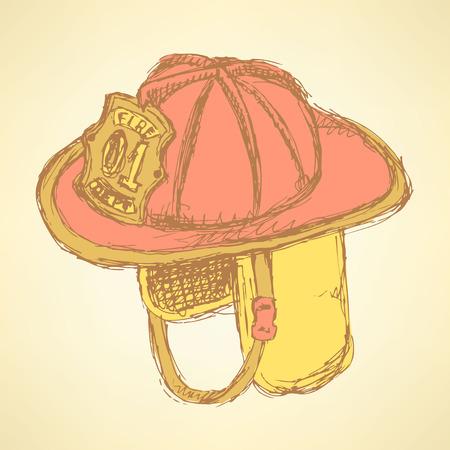 Sketch fire helmet in vintage style Ilustração