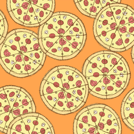 tasty: Sketch tasty pizza in vintage style