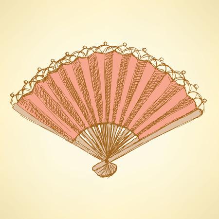 spanish fan: Sketch Spanish fan in vintage style, vector