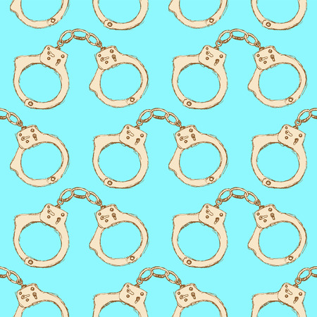 Sketch steel handcuffs in vintage style, vector seamless pattern Vector