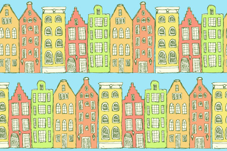 sidewalk cafe: Sketch Amsterdam houses in vintage style, vector seamless pattern