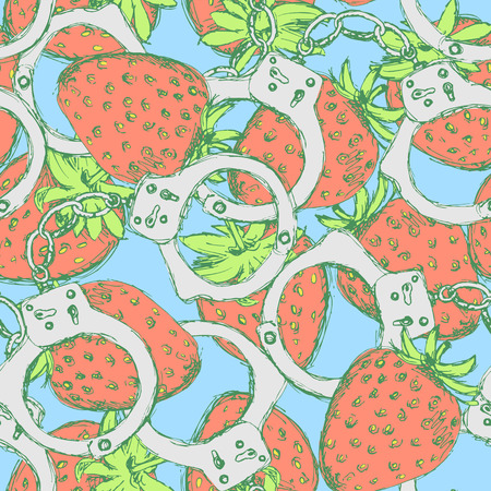 handcuffs female: Sketch handcuffs and strawberry in vintage style, vector seamless pattern