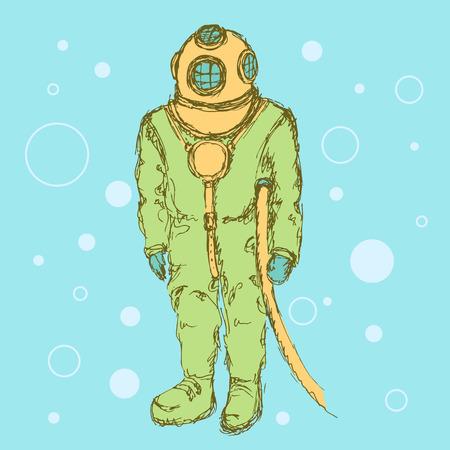 taking the plunge: Sketch cute vintage diving suit, vector eps 10
