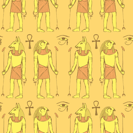 ancient civilization: Sketch Egyptian gods in vintage style, vector seamless pattern Illustration