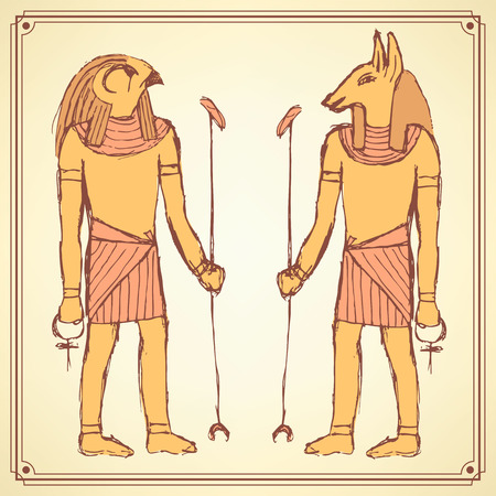 egypt anubis: Sketch Egyptian gods in vintage style, vector