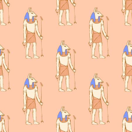 anubis: Sketch Anubis in vintage style, vector seamless pattern