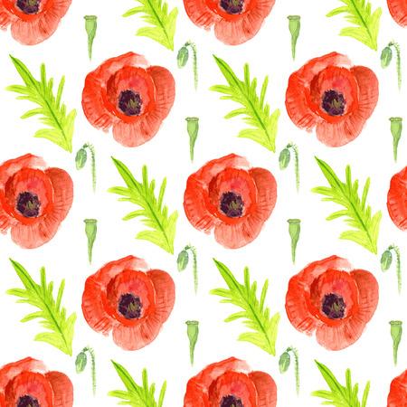 patten: Watercolor poppy in vintage style, vector seamless patten