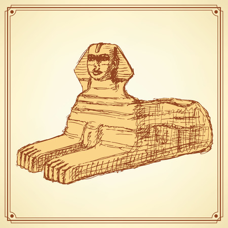 Sketch Sphinx monument in vintage style, vector