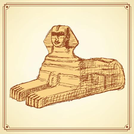 sphinx: Sketch Sphinx monument in vintage style, vector