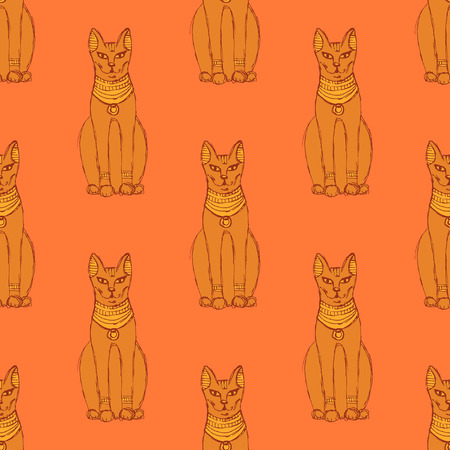 Sketch Egyptian cat in vintage style, vector seamless patter