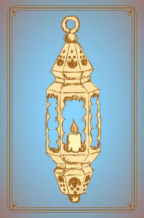 Sketch Ramadan lantern in vintage style, vector