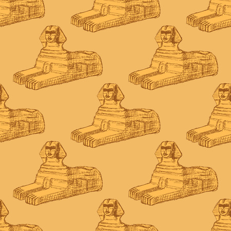 sphinx: Sketch Sphinx monument in vintage style, vector seamless pattern