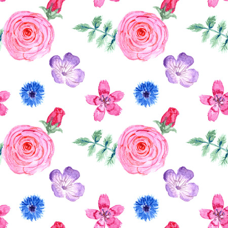 rose garden: Watercolor flowers in vintage style, vector seamless pattern