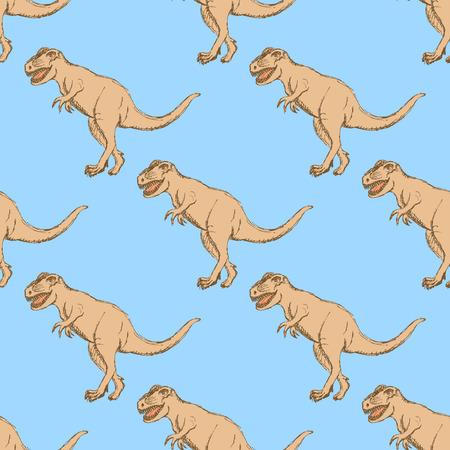 barrel tile: Sketch t-rex dinosaur in vintage style, vector Illustration