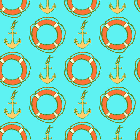 Sketch life bouy and anchor in vintage style, vector seamless pattern Illustration