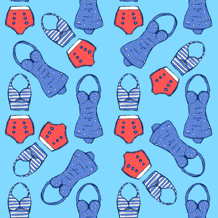 swimsuite: Sketch swimsuite in vintage style, vector seamless pattern Illustration