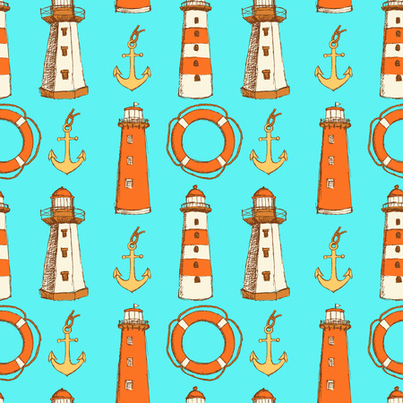 Sketch life bouy, lighthouse and anchor in vintage style, vector seamless pattern
