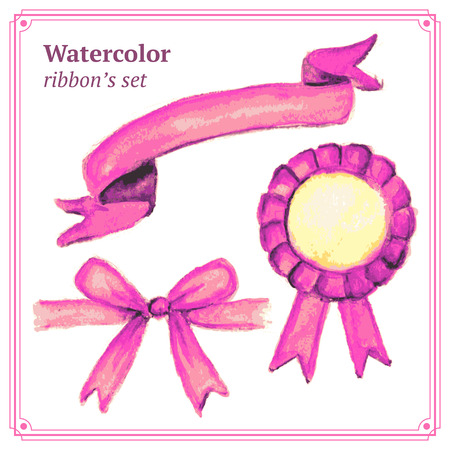 pink ribbons: Watercolor pink ribbons set in vintage style, vector