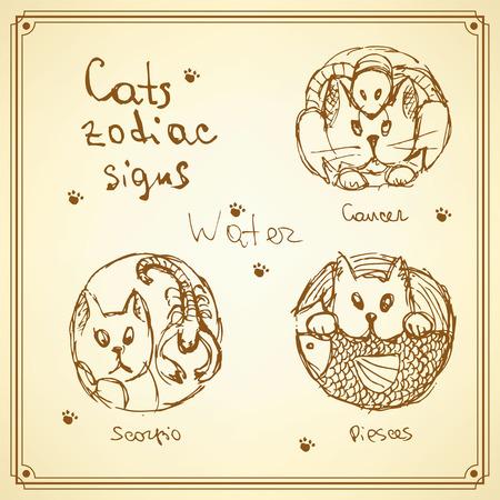Sketch cats zodiac signs in vintage style, vector water symbols