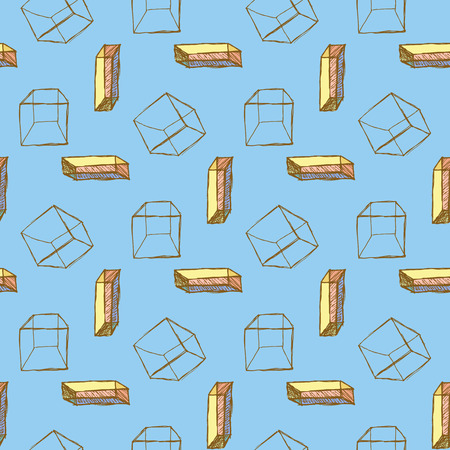 fashion illustration: Sketch cube in vintage style, vector seamless pattern