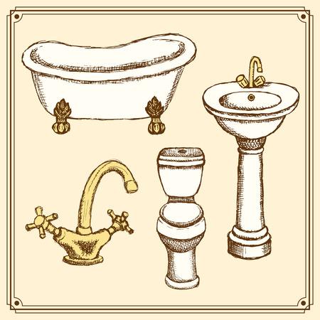 bathroom equipment: Sketch bathroom equipment in vintage style, vector