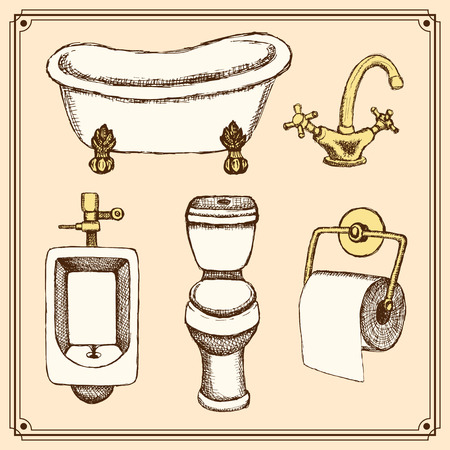watercloset: Sketch bathroom and toilet equipment in vintage style, vector Illustration