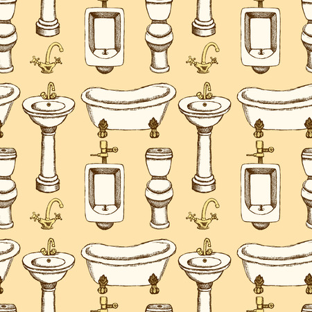 watercloset: Sketch bathroom and toilet equipment in vintage style, vector seamless pattern