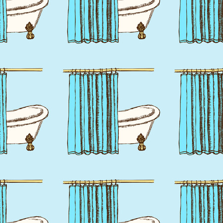 shower curtain: Sketch bath curtains in vintage style, vector seamless pattern