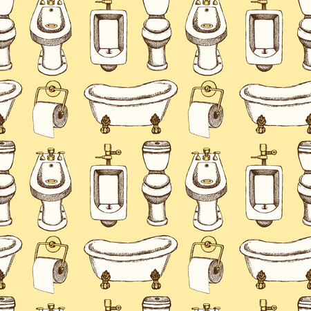 watercloset: Sketch toilet and bathroom eguipment in vintage style, vector seamless pattern