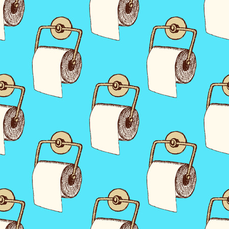 toilet paper art: Sketch toilet paper in vintage style, vector seamless pattern Illustration