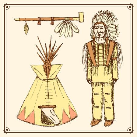 Sketch native american set in vintage style, vector