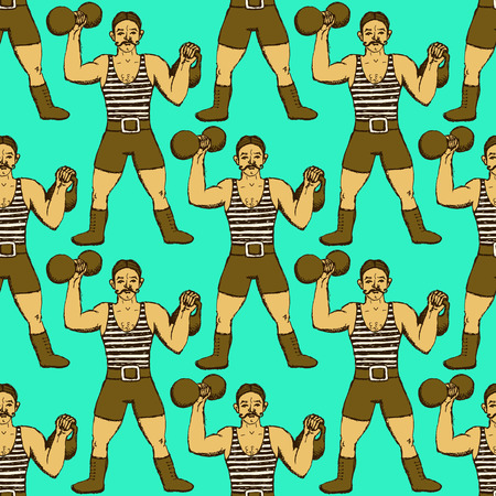 strongman: Sketch circus strongman in vintage style Illustration