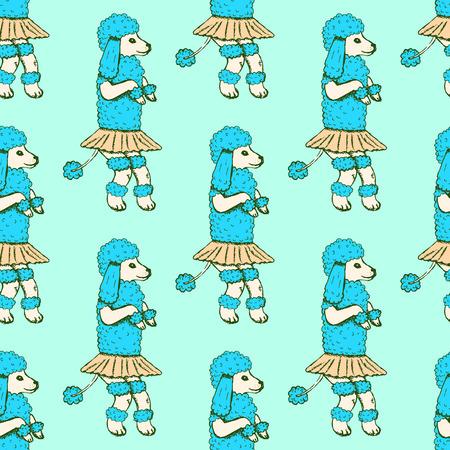 Sketch dancing poodle in vintage style,  seamless pattern