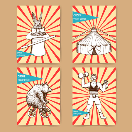 Sketch circus posters in vintage style, rabbit, strongman, bear