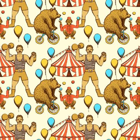 circo: Círculos bosquejo sin patrón en el estilo vintage. Tenga rigdding en una bicicleta, malabarista mono, carpa de circo y hombre fuerte.