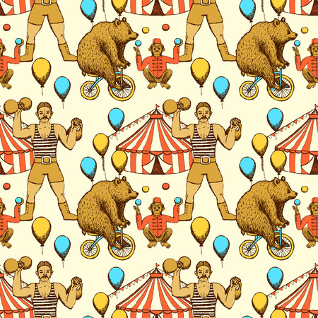 circus arena: Sketch circles seamless pattern in vintage style. Bear rigdding on a bicycle, monkey juggler, circus tent and strongman.