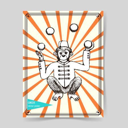 juggler: Sketch mokey juggler in vintage style