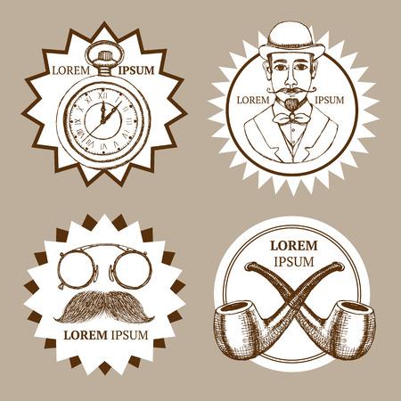 logotypes: Sketch set of gentlemans logotypes in vintage style