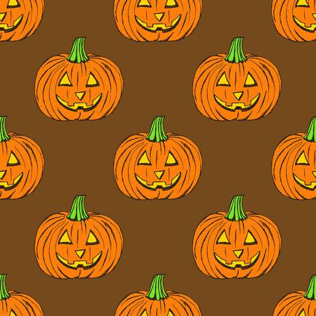 carved pumpkin: Sketch carved pumpkin in vintage style