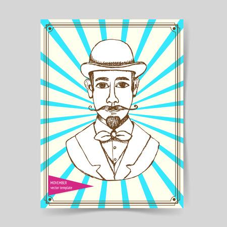 holyday: Sketch man in hat vintage style