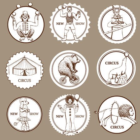 Sketch circus lables and logotypes in vintage style, vector