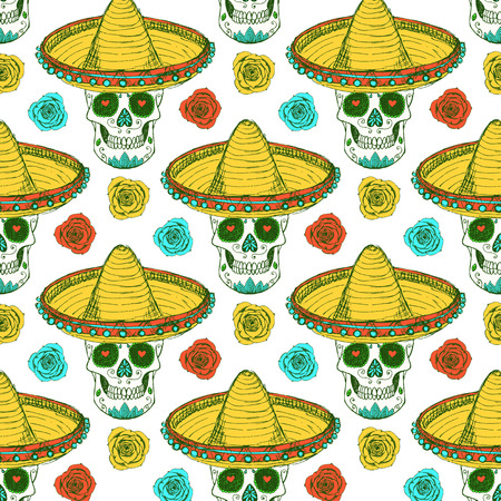 Sketch mexican skull in hat with roses in vintage style, vector seamless pattern Illustration