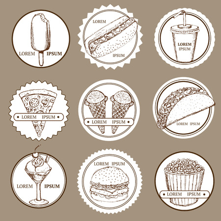 Sketch set of fast food and ice cream logotypes in vintage style, vector