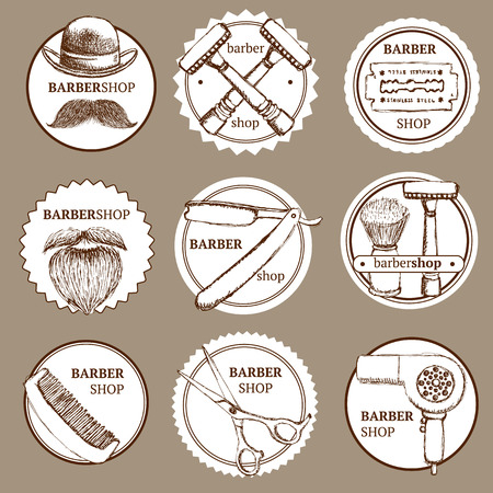 barber background: Sketch set of barbershop   in vintage style, vector Illustration